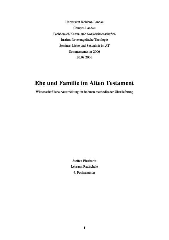 Ehe und Familie im Alten Testament - Wissenschaftliche ...