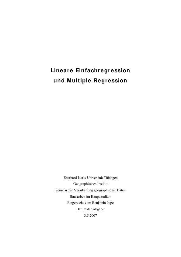 Titel: Lineare Einfachregression und Multiple Regression
