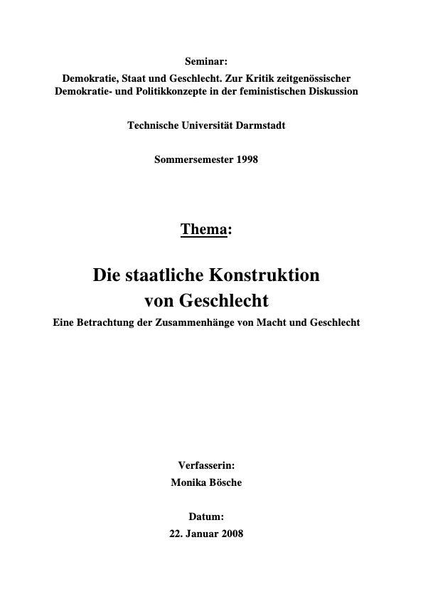 Titel: Die staatliche Konstruktion von Geschlecht  -  Eine Betrachtung der Zusammenhänge von Macht und Geschlecht