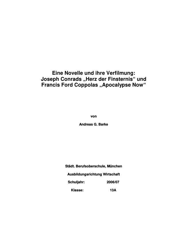 Titel: Conrad, Joseph - Herz der Finsternis: Eine Novelle und ihre Verfilmung