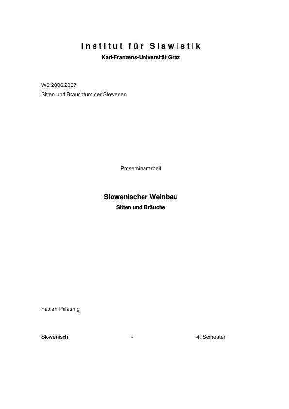 Titel: Der slowenische Weinbau - Sitten und Bräuche