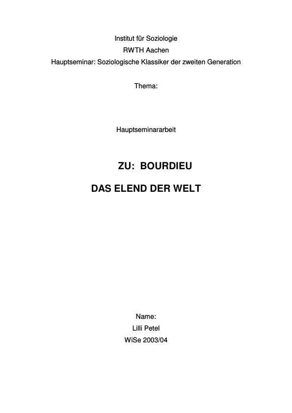 """Titel:  Zu:  """"Bourdieu: Das Elend der Welt"""""""