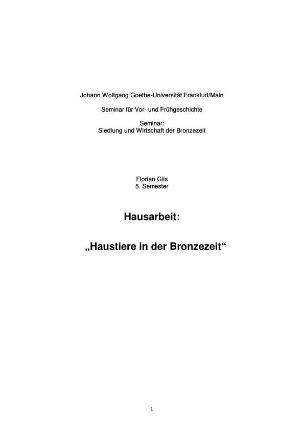 Titel: Haustiere in der Bronzezeit