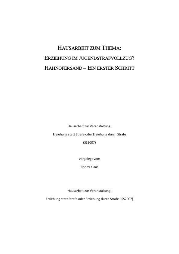 Titel: Erziehung im Jugendstrafvollzug  -  Hahnöfersand - Ein erster Versuch