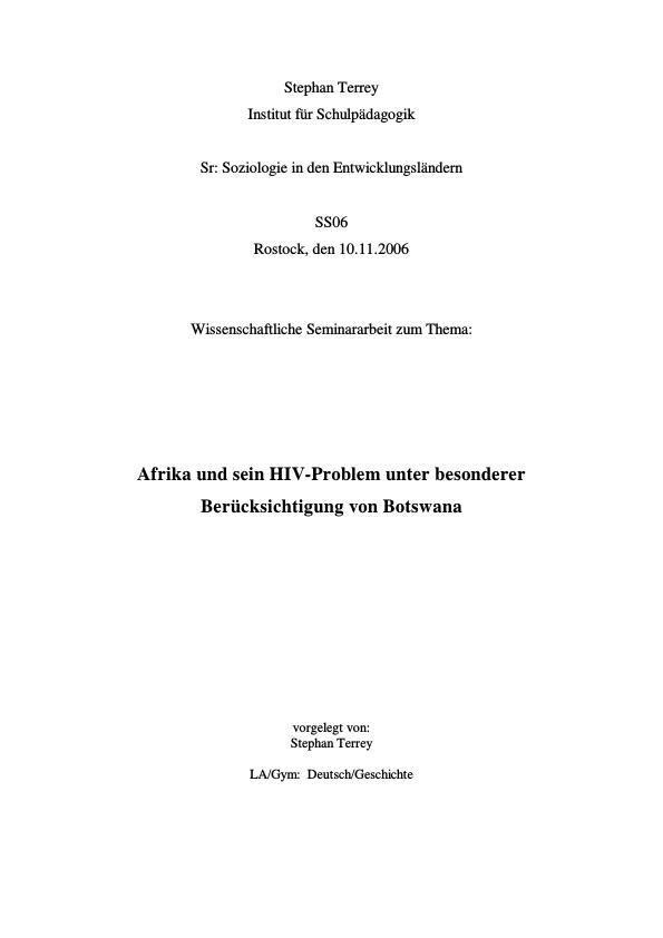 Titel: Afrika und sein HIV-Problem unter besonderer Berücksichtigung von Botswana