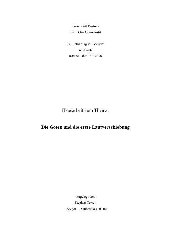 Titel: Die Goten und die erste Lautverschiebung