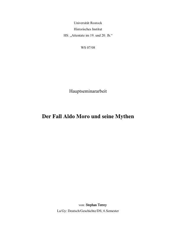 Titel: Der Fall Aldo Moro und seine Mythen