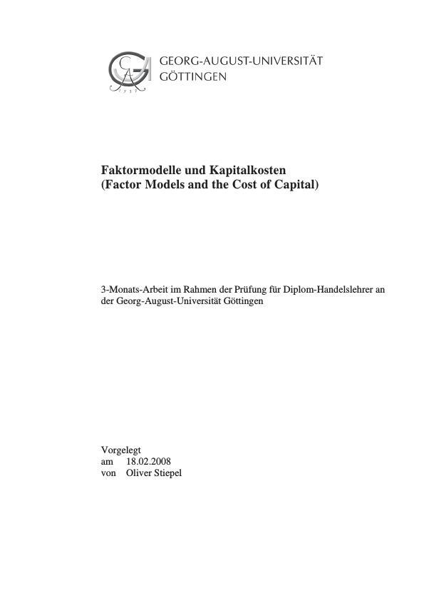Titel: Faktormodelle und Kapitalkosten (Factor Models and the Cost of Capital)