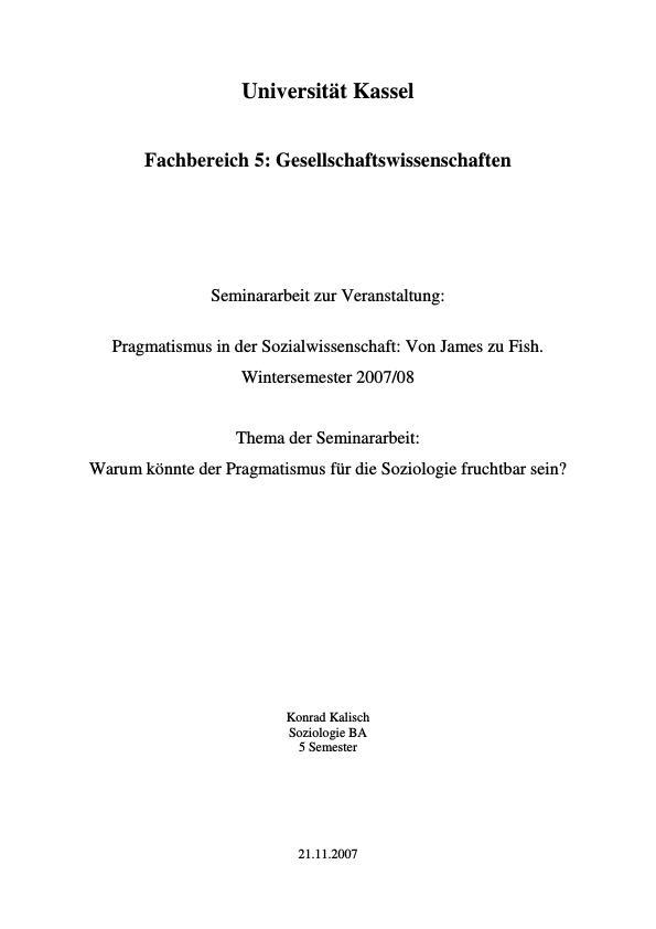Titel: Warum könnte der Pragmatismus für die Soziologie fruchtbar sein?