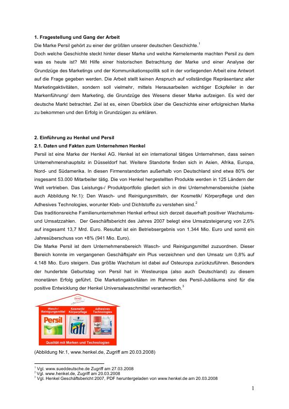 Titel: Persil - Geschichte und Analyse einer erfolgreichen Marke