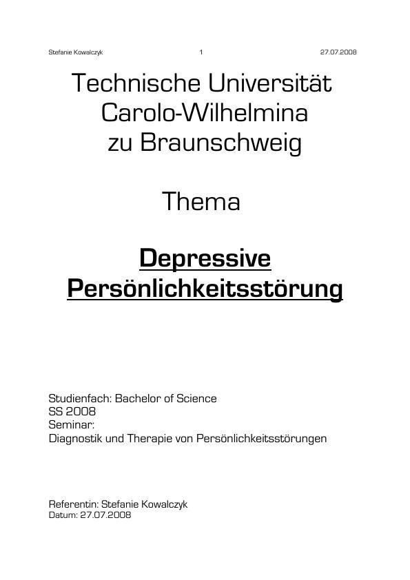 Titel: Depressive Persönlichkeitsstörung