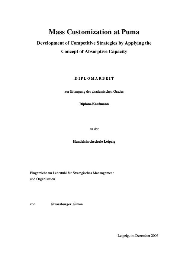 Title: Mass customization. Development of competitive strategies by applying the concept of Absorptive Capacity