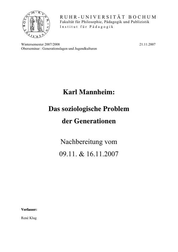 Titel: Karl Mannheim: Das soziologische Problem der Generationen
