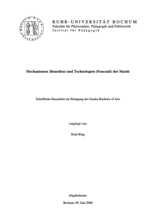 Titel: Mechanismen (Bourdieu) und Technologien (Foucault) der Macht