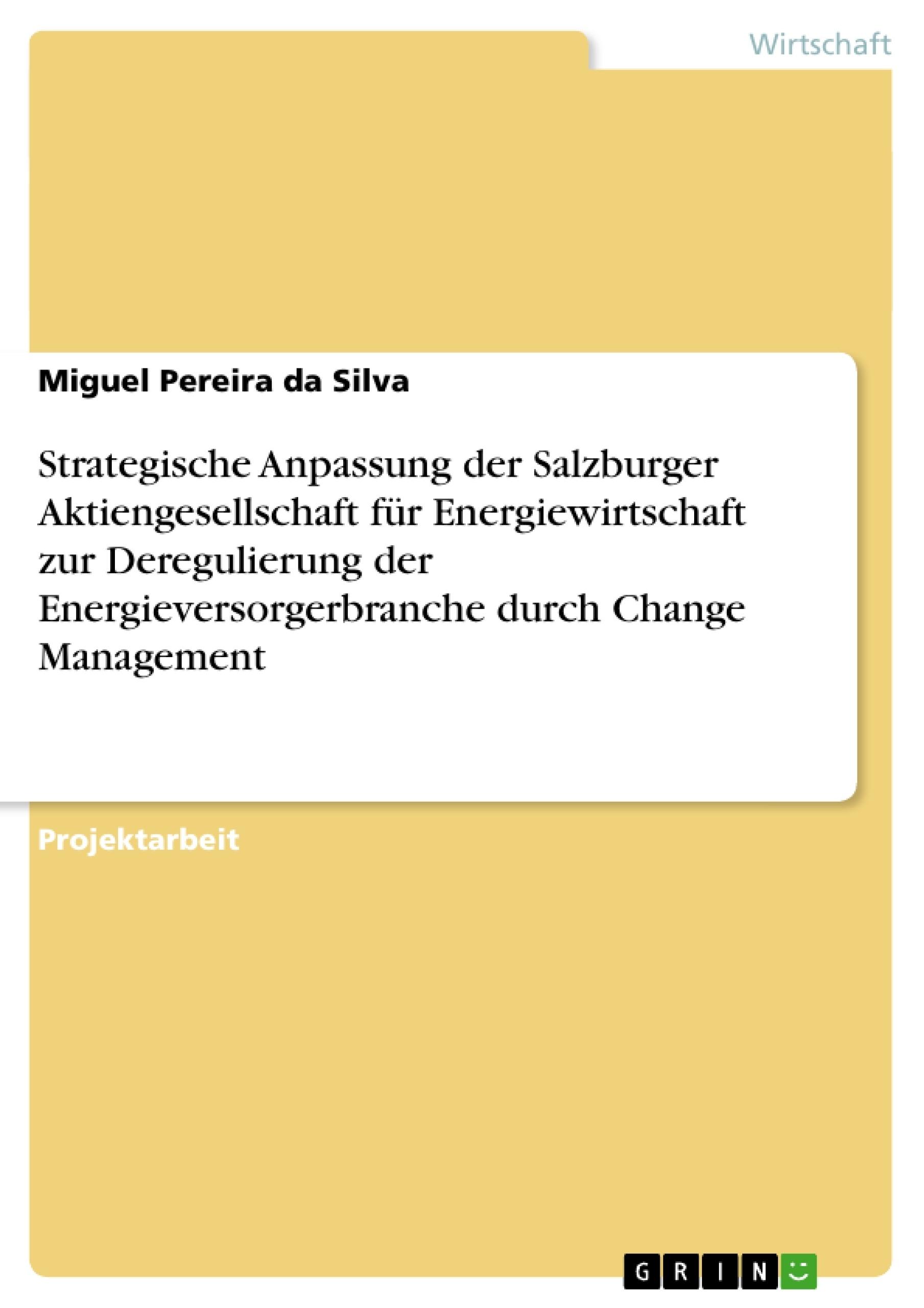 Titel: Strategische Anpassung der Salzburger Aktiengesellschaft für Energiewirtschaft zur Deregulierung der Energieversorgerbranche durch Change Management