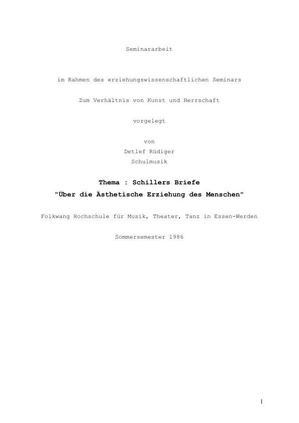 """Titel: Schillers Briefe """"Über die Ästhetische Erziehung des Menschen"""""""