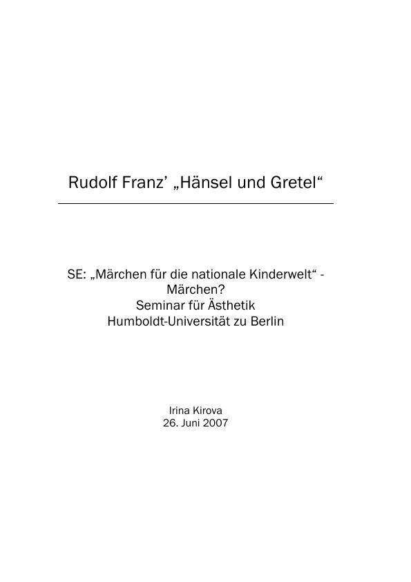 """Titel: Rudolf Franz' """"Hänsel und Gretel"""""""