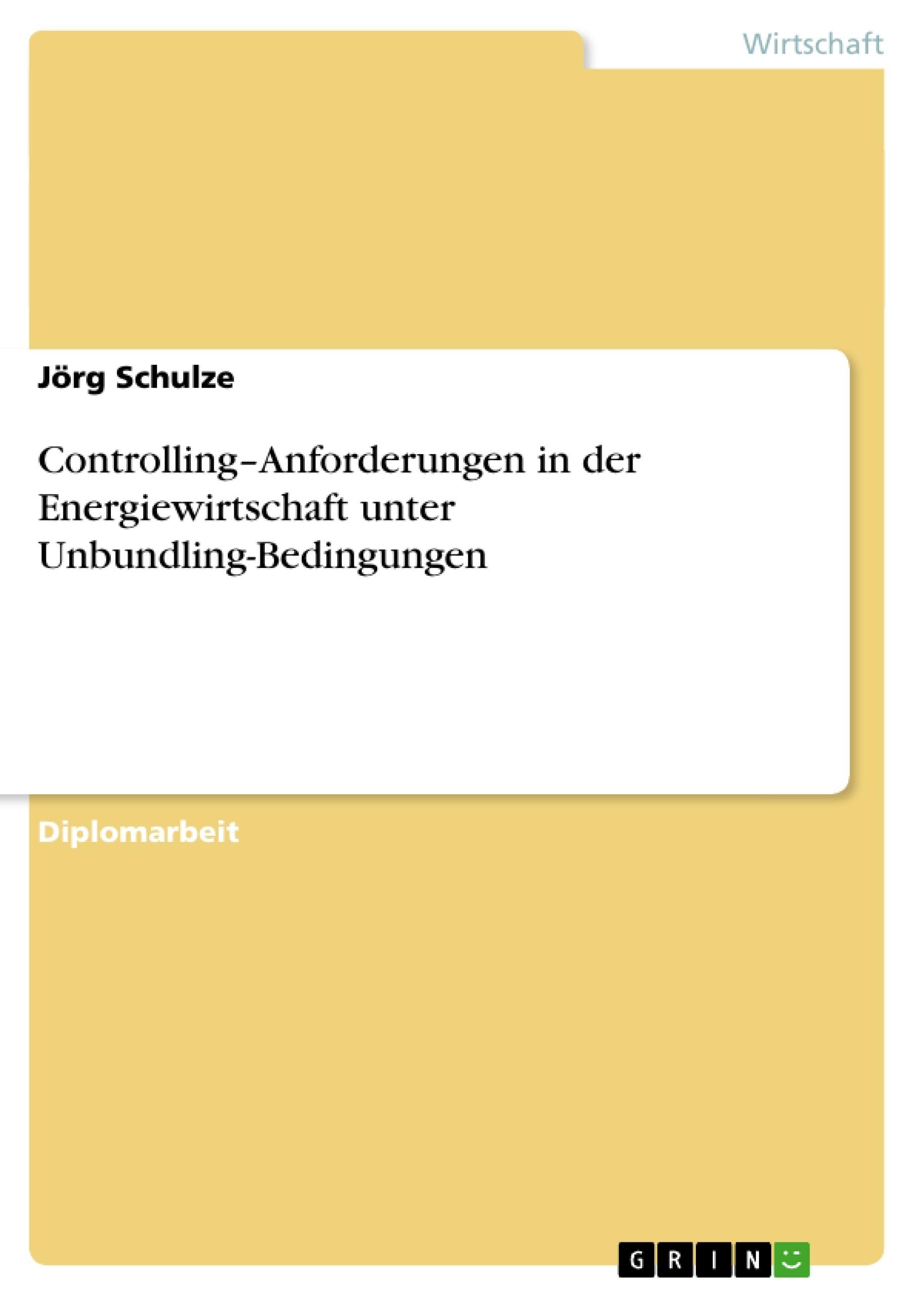 Titel: Controlling–Anforderungen in der Energiewirtschaft unter Unbundling-Bedingungen