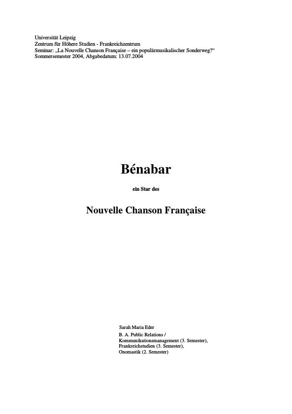Titel: Bénabar - Ein Star des Nouvelle Chanson Francaise