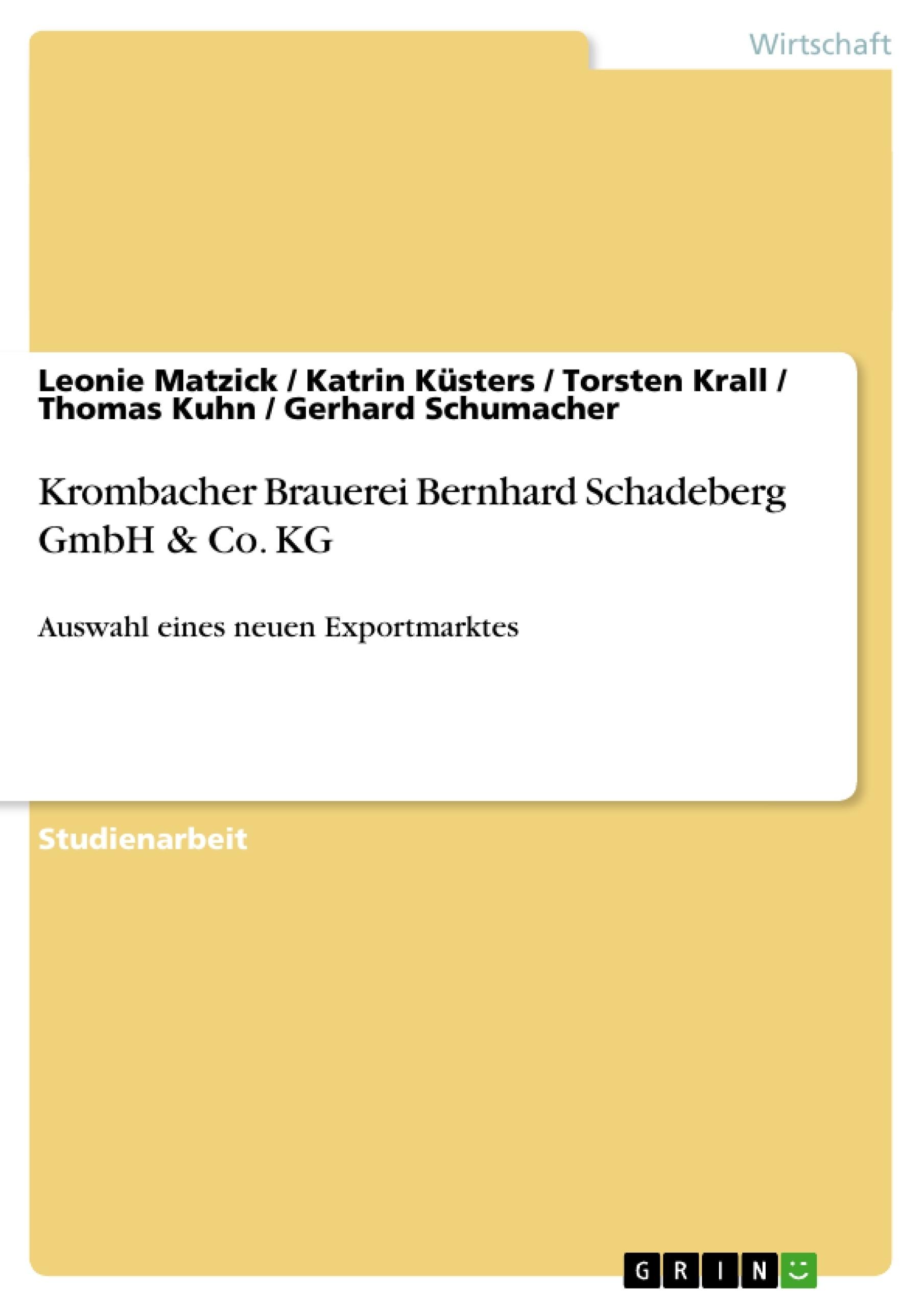 Titel: Krombacher Brauerei Bernhard Schadeberg GmbH & Co. KG