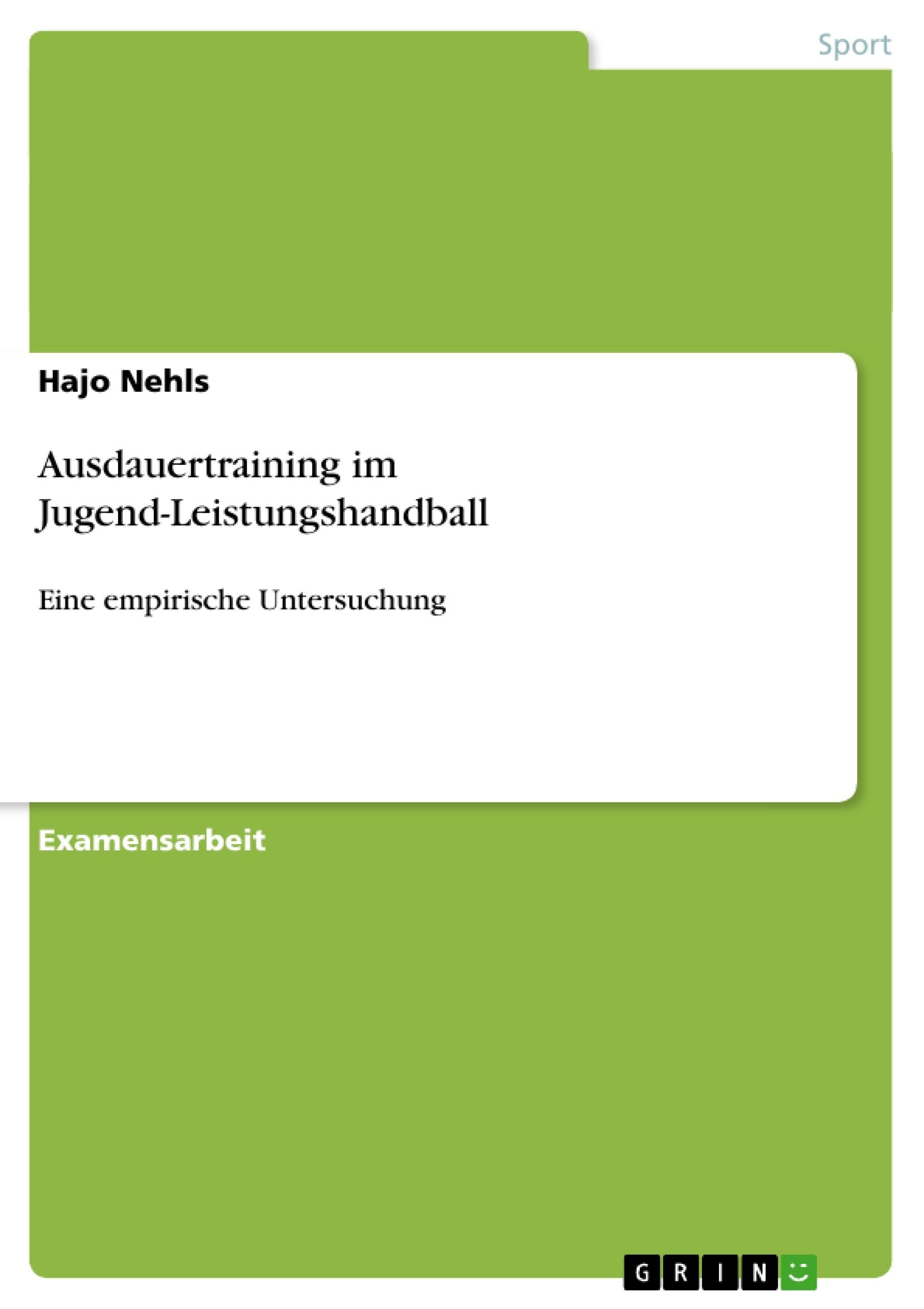 Titel: Ausdauertraining im Jugend-Leistungshandball