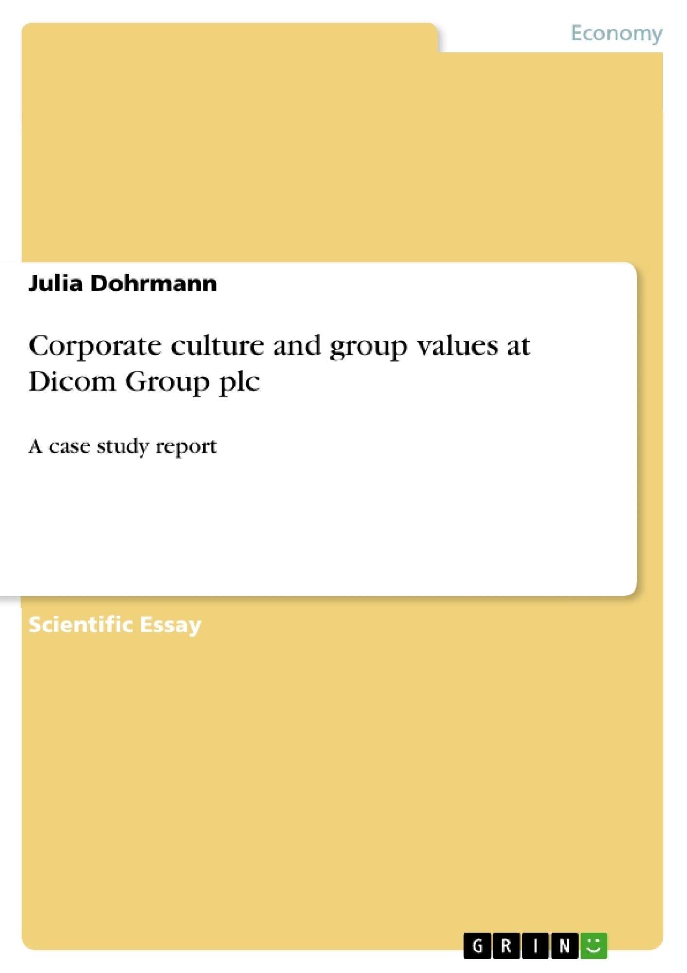 Title: Corporate culture and group values at Dicom Group plc