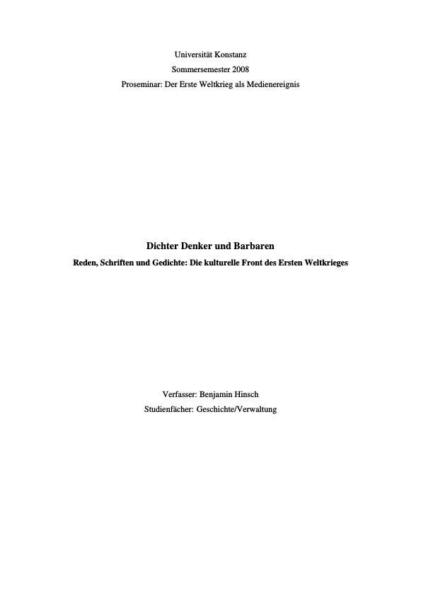 Titel: Dichter Denker und Barbaren - Reden, Schriften und Gedichte: Die kulturelle Front des Ersten Weltkrieges