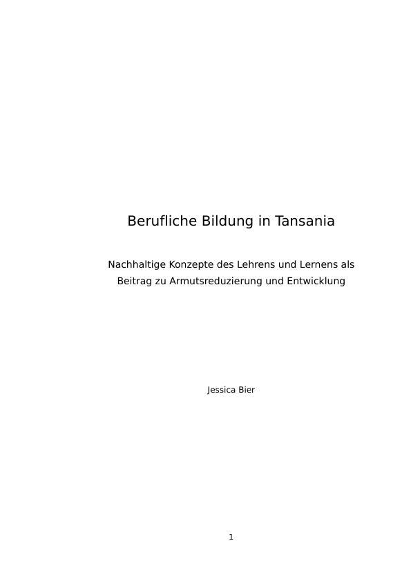 Titel: Berufliche Bildung in Tansania