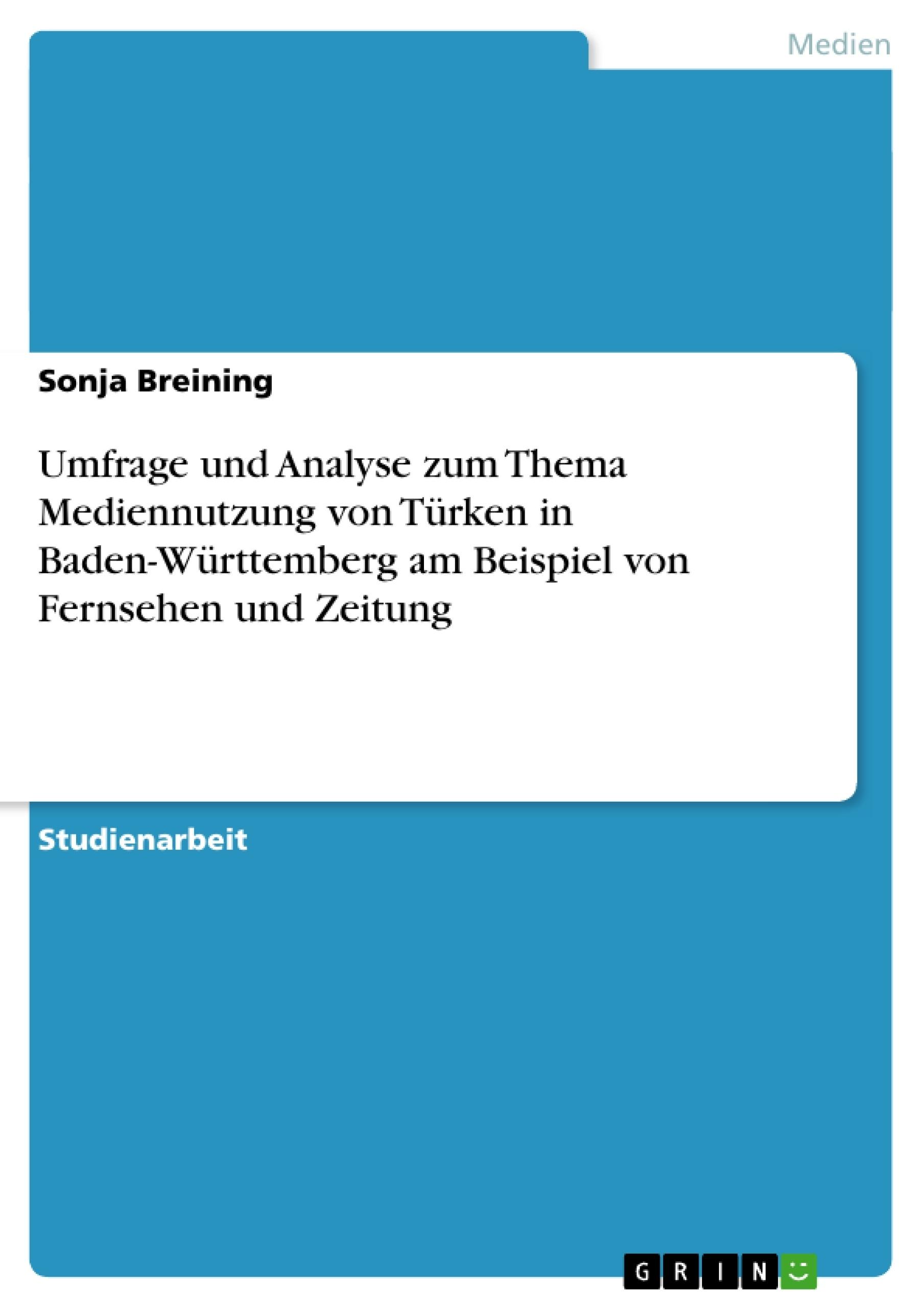 Titel: Umfrage und Analyse zum Thema Mediennutzung von Türken  in Baden-Württemberg am Beispiel von Fernsehen und Zeitung