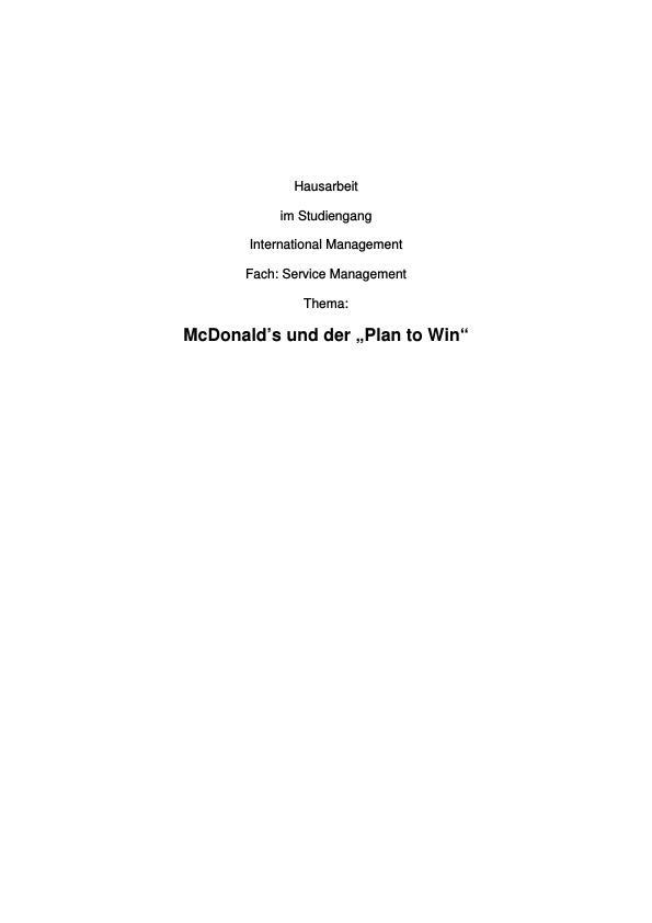 "Titel: McDonald's und ""The Plan to Win"""