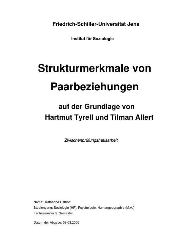 Titel: Strukturmerkmale von Paarbeziehungen auf der Grundlage von Hartmann Tyrell und Tilman Allert