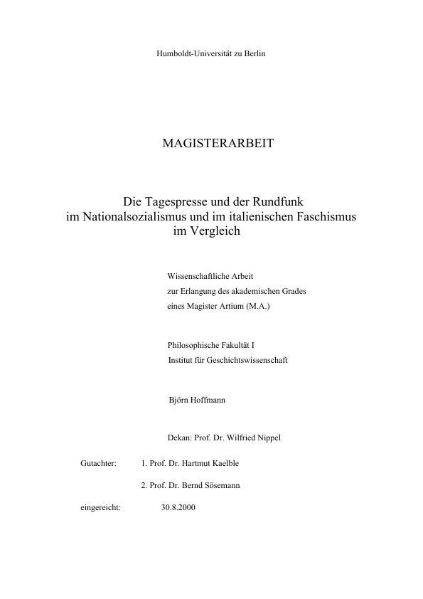 Titel: Die Tagespresse und der Rundfunk im Nationalsozialismus und im italienischen Faschismus im Vergleich