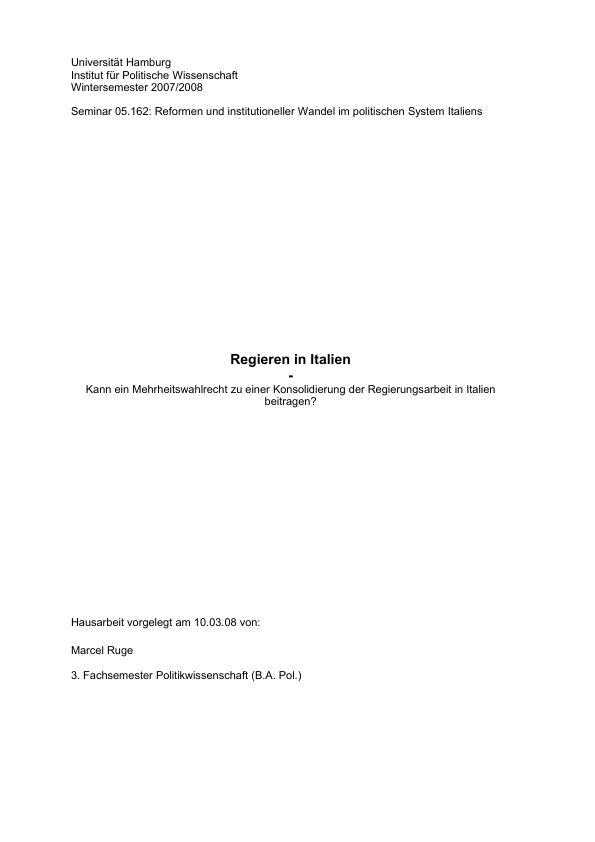 Titel: Regieren in Italien