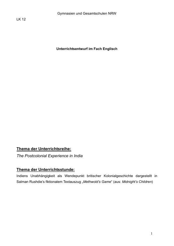 """Titel: Britische Kolonialgeschichte im Unterricht. Indiens Unabhängigkeit in Salman Rushdies fiktionalem Textauszug """"Methwold's Game"""""""