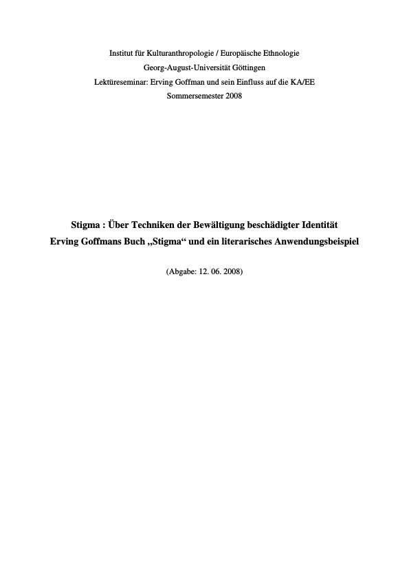 Titel: Stigma: Über Techniken der Bewältigung beschädigter Identität