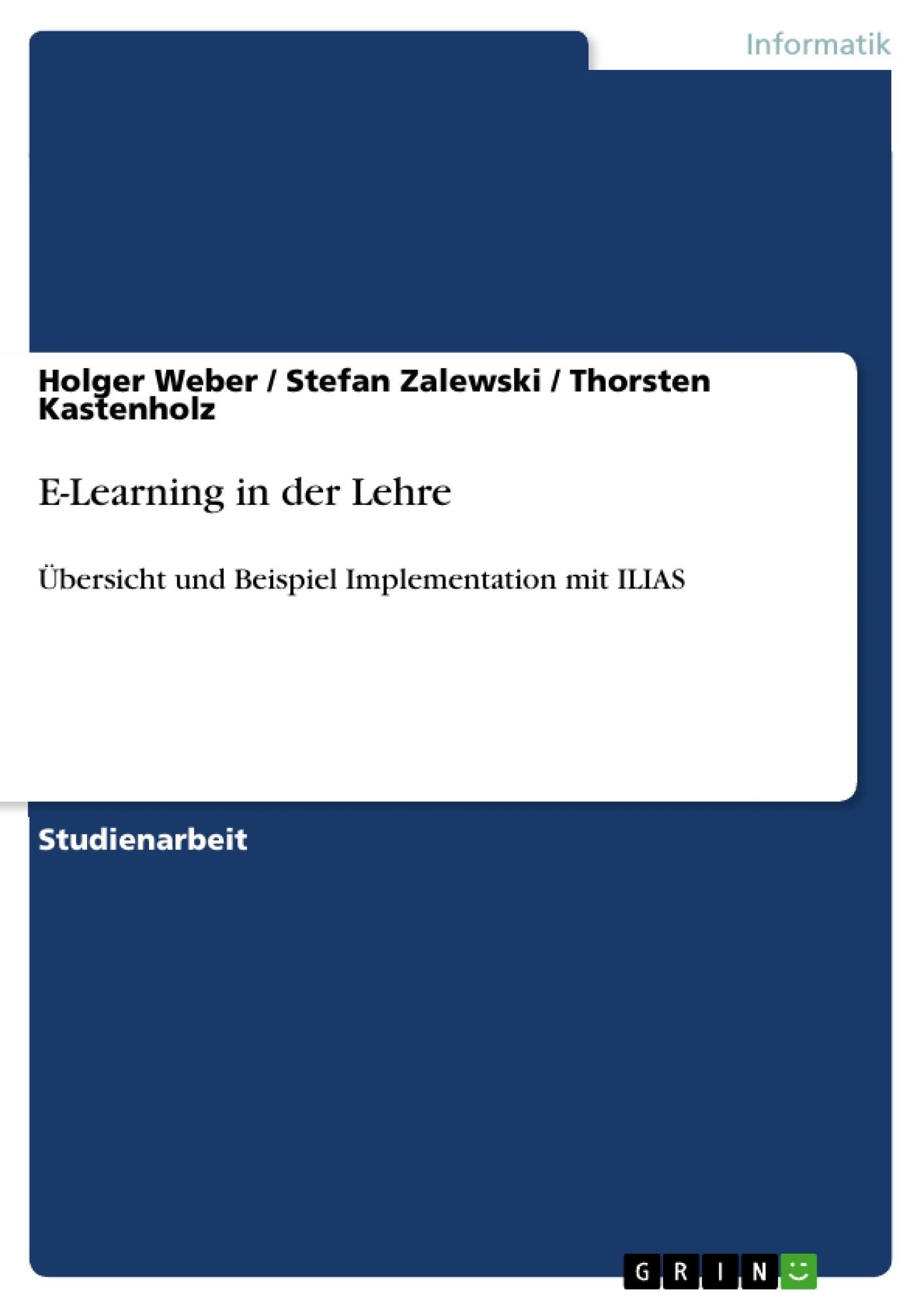 Titel: E-Learning in der Lehre