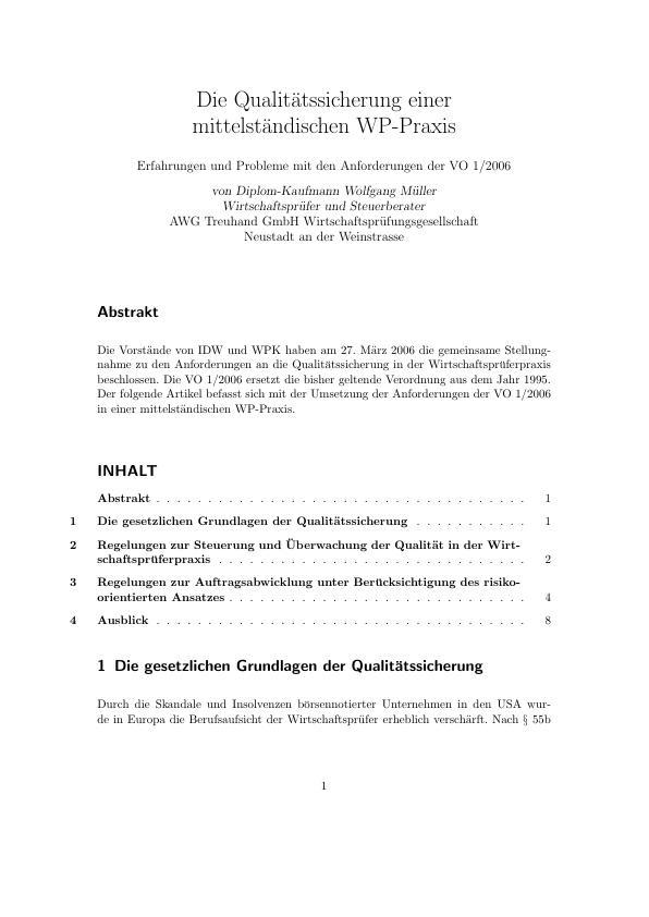 Titel: Die Qualitätssicherung einer mittelständischen WP-Praxis