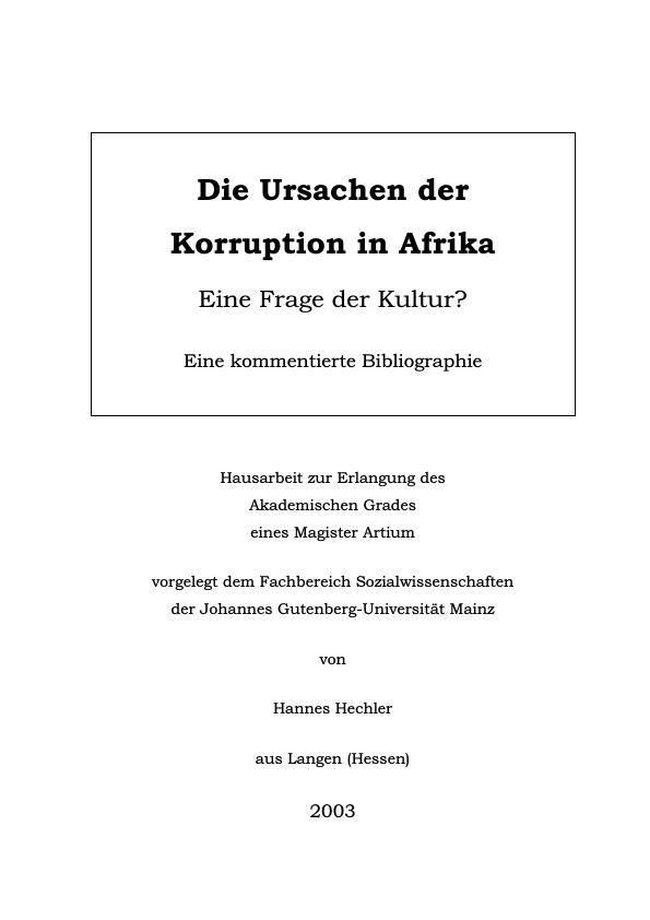 Titel: Die Ursachen der Korruption in Afrika - Eine Frage der Kultur?