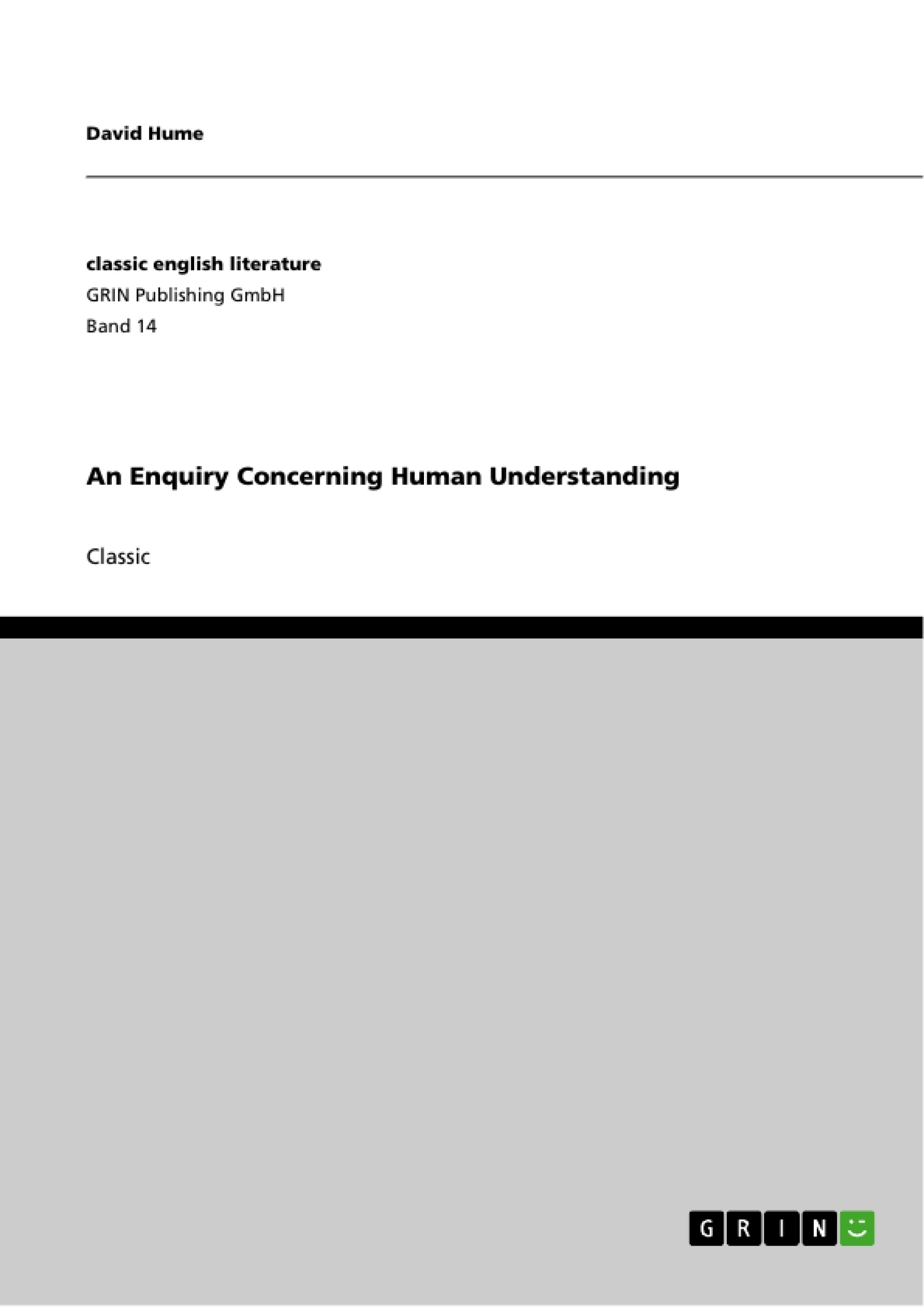 Title: An Enquiry Concerning Human Understanding