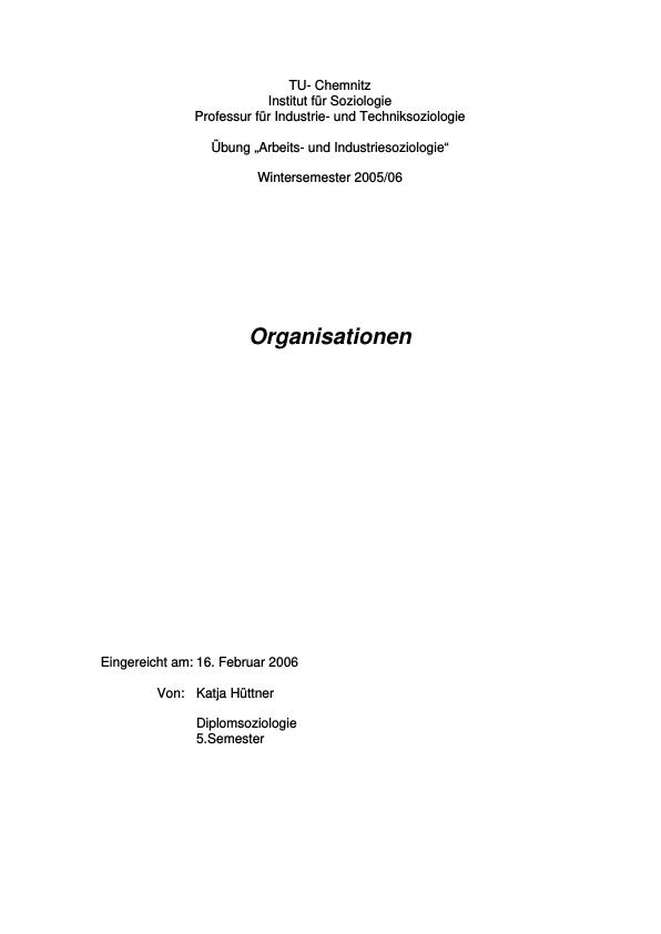 Titel: Betrachtung verschiedener Aspekte von Organisationen