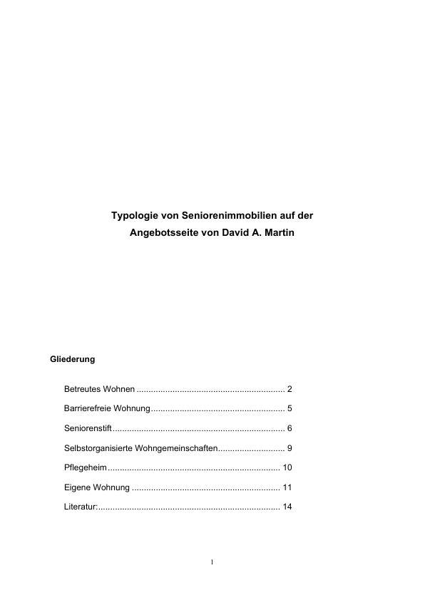 Titel: Typologie von Seniorenimmobilien auf der Angebotsseite