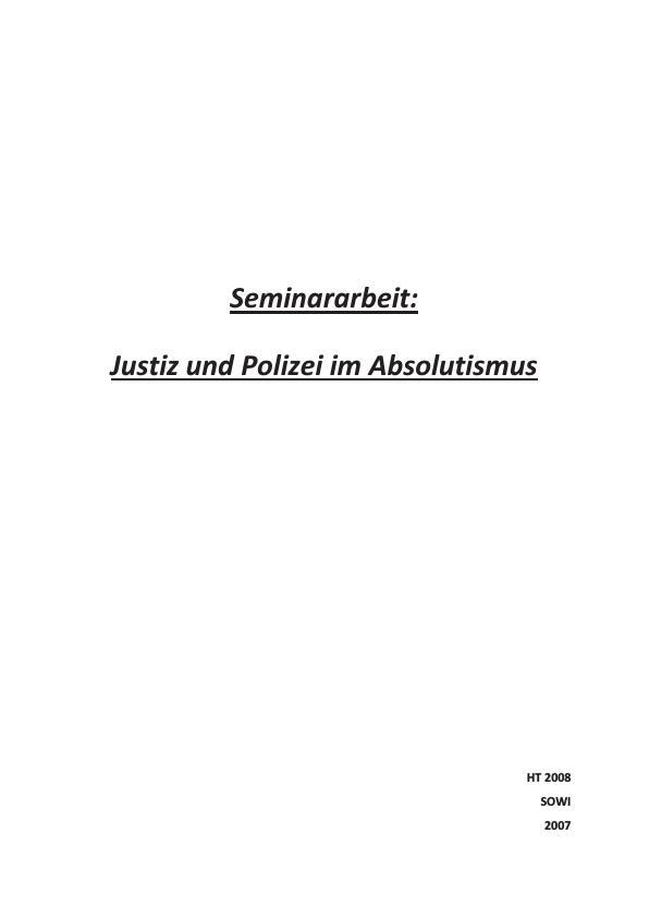 Titel: Justiz und Polizei im Absolutismus