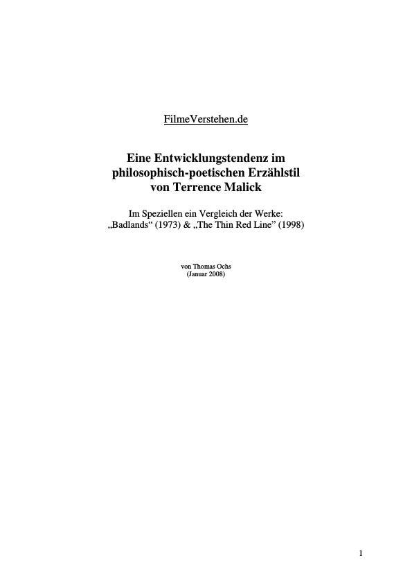 Titel: Eine Entwicklungstendenz im philosophisch-poetischen Erzählstil von Terrence Malick