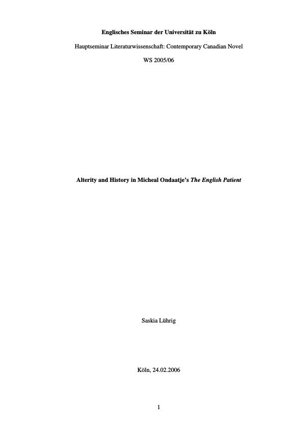 """Title: Alterity and History in Micheal Ondaatje's """"The English Patient"""""""