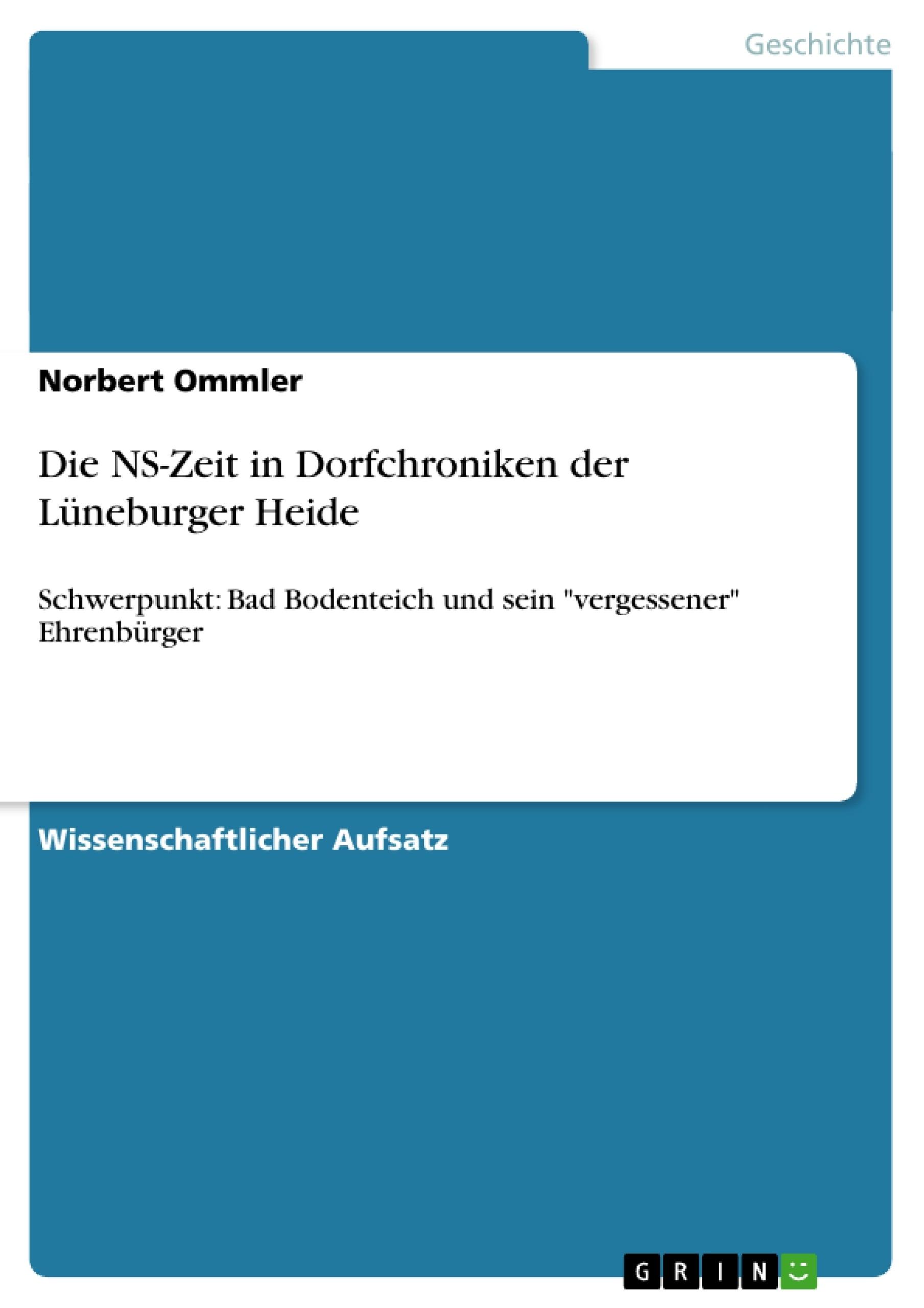 Titel: Die NS-Zeit in Dorfchroniken der Lüneburger Heide
