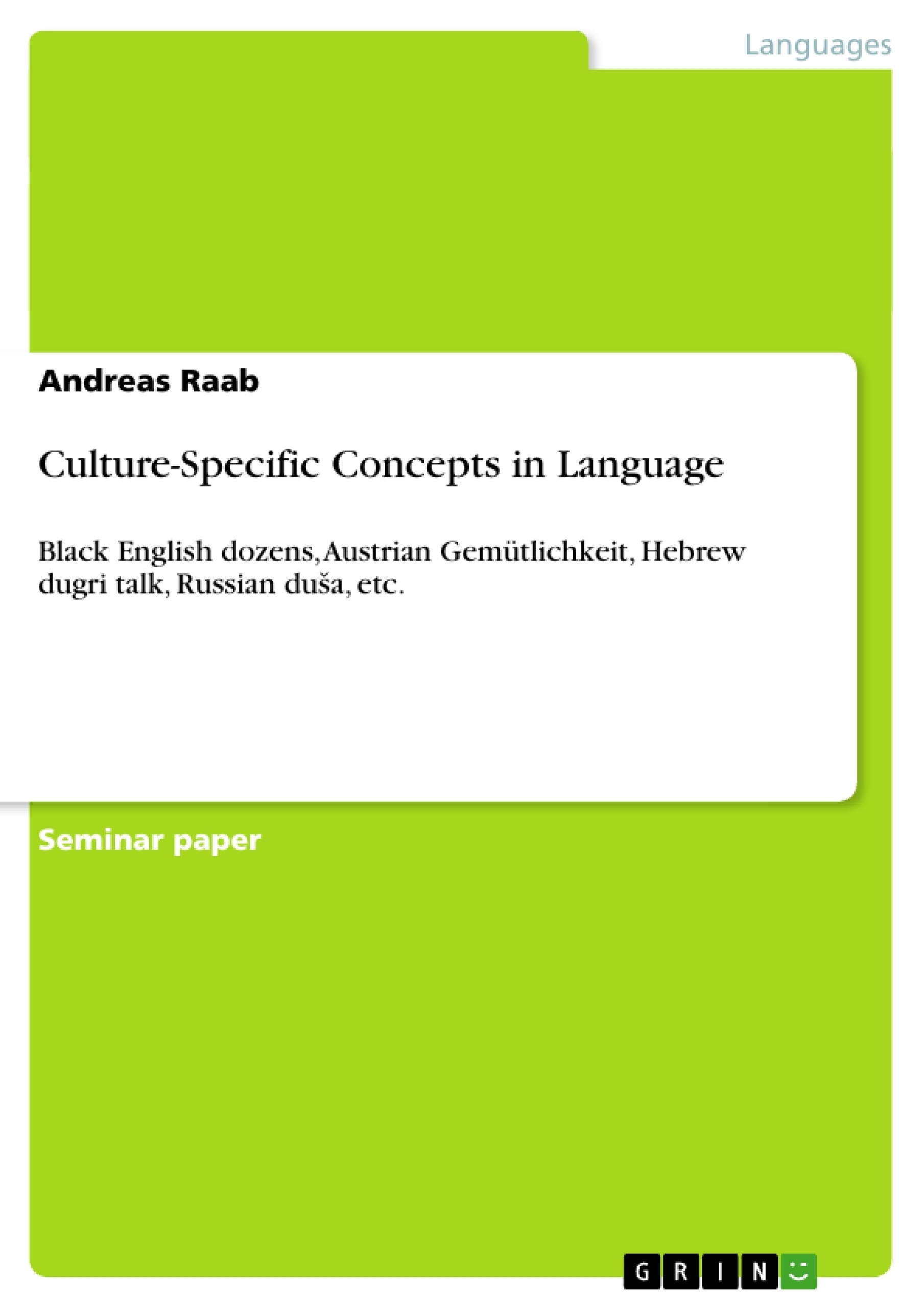 Title: Culture-Specific Concepts in Language