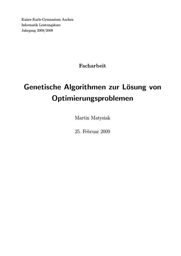 Titel: Genetische Algorithmen zur Lösung von Optimierungsproblemen