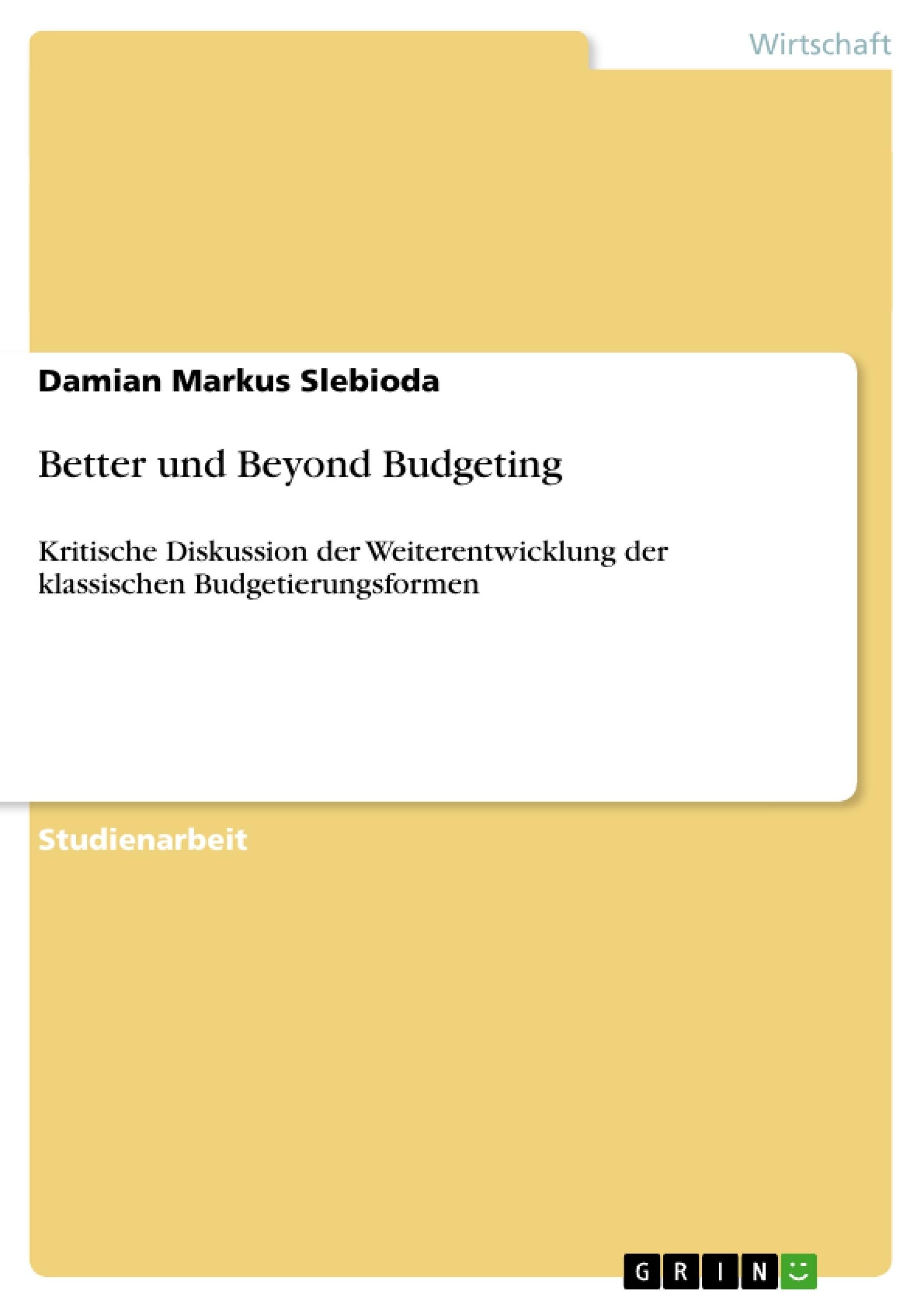 Titel: Better und Beyond Budgeting