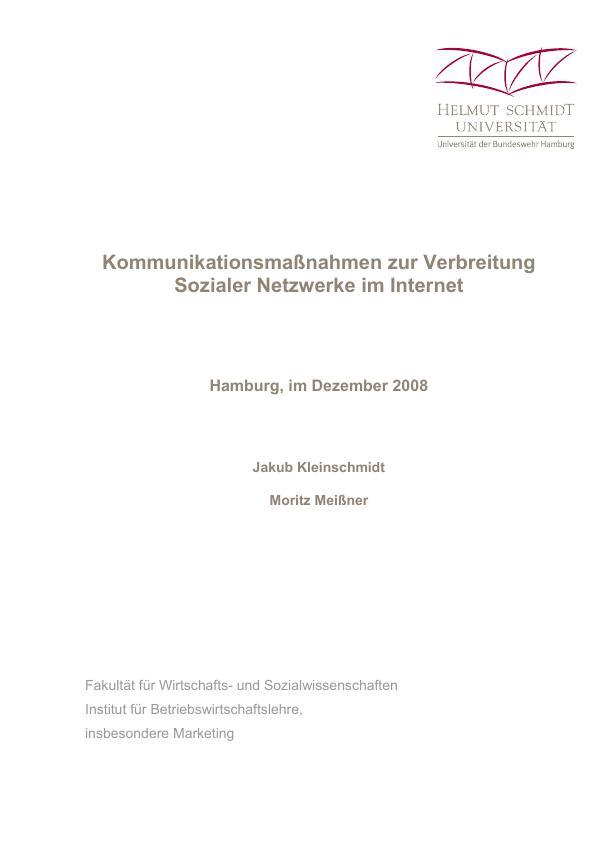 Titel: Kommunikationsmaßnahmen zur Verbreitung Sozialer Netzwerke im Internet
