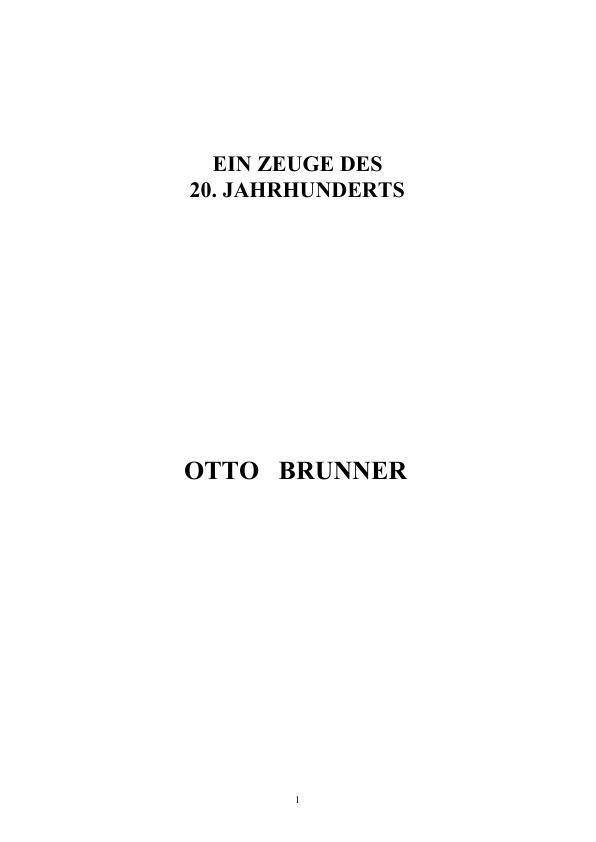 Titel: Otto Brunner - Ein Zeuge des 20. Jahrhunderts